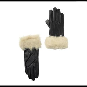 NWT $135 UGG Genuine Shearling Trim Leather Gloves